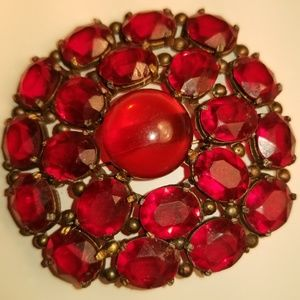 Vintage Round Glass Antique Brooch Ruby Red Color